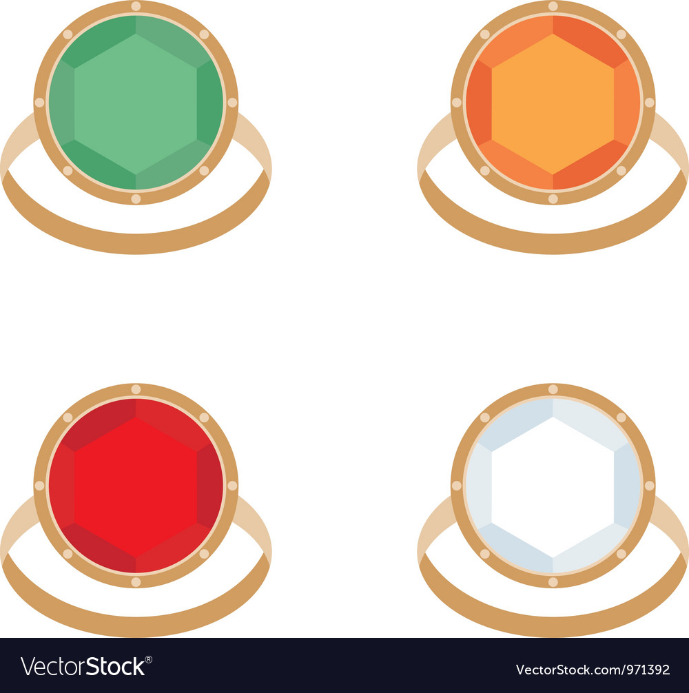 Set of female jeweler rings vector