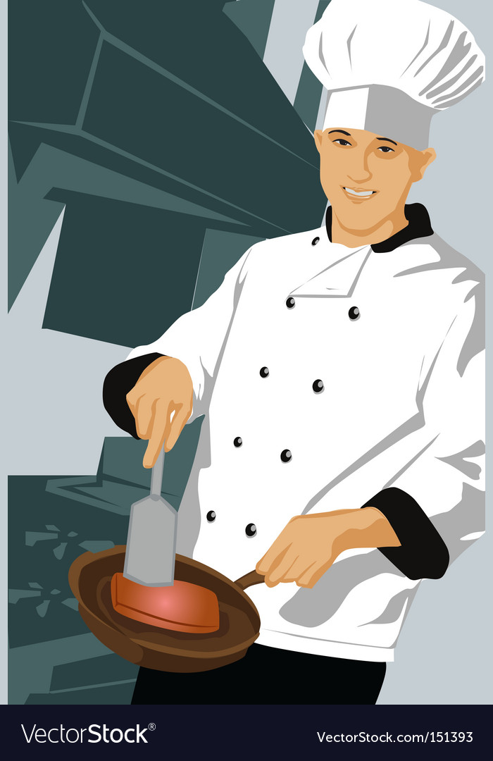 Chef with pan vector