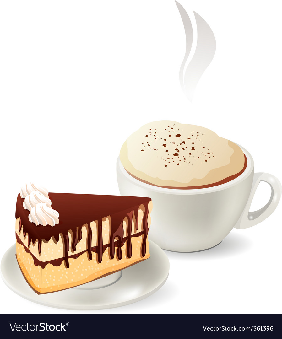 Cup of hot coffee with cake vector