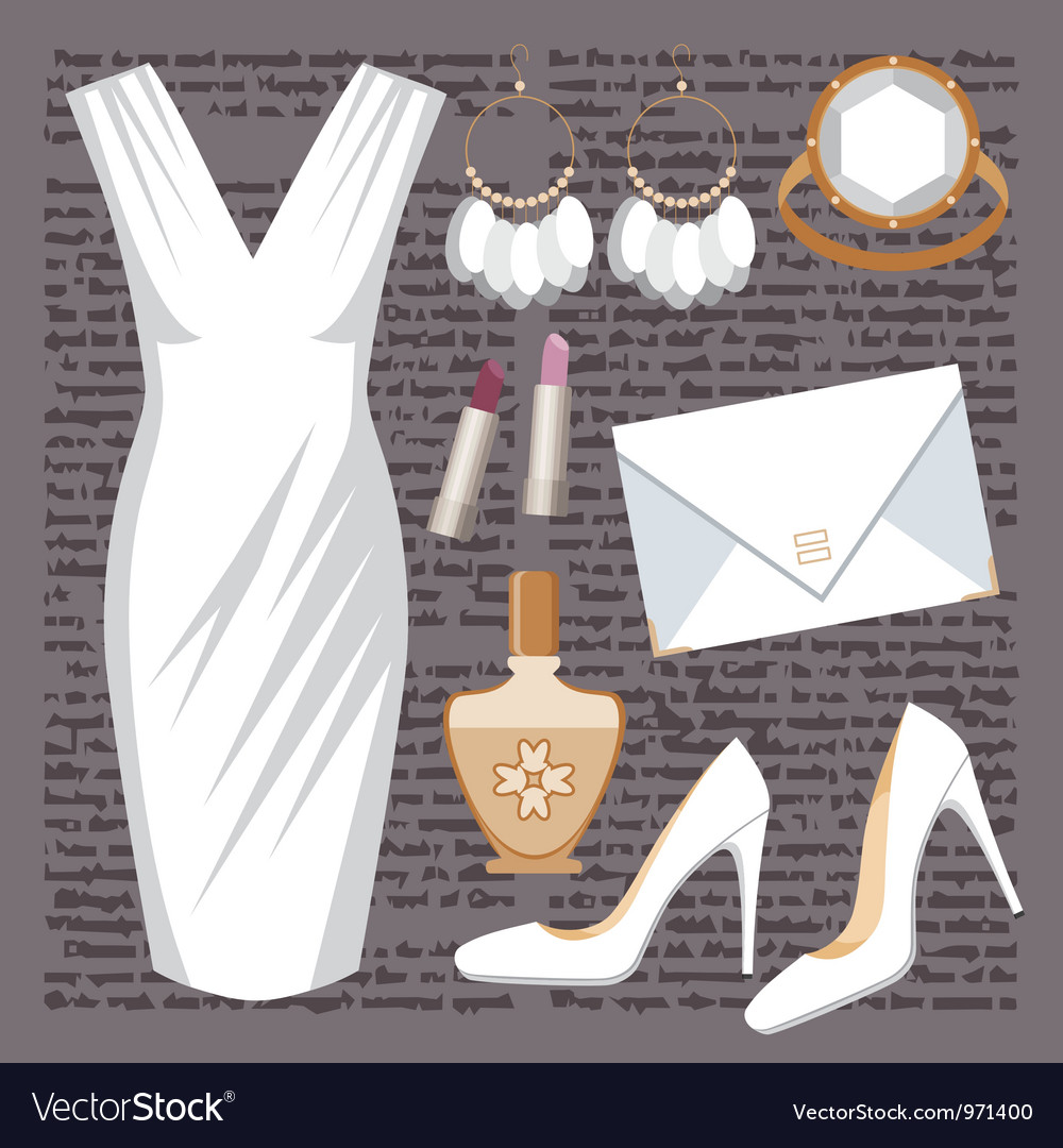 Fashion set with a dress vector