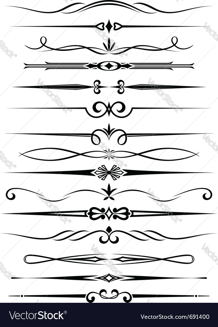 Dividers and borders set Vector Image by Seamartini - Image ...