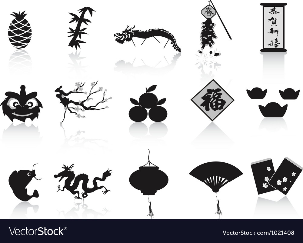 Black chinese new year icon vector