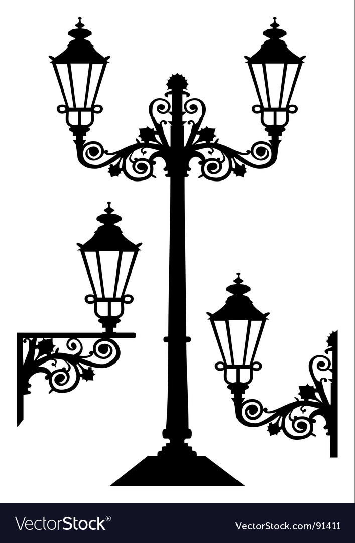 Antique street lights vector