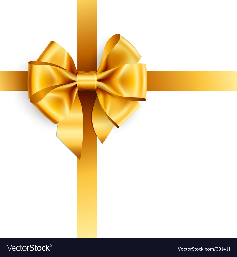 Golden bow vector