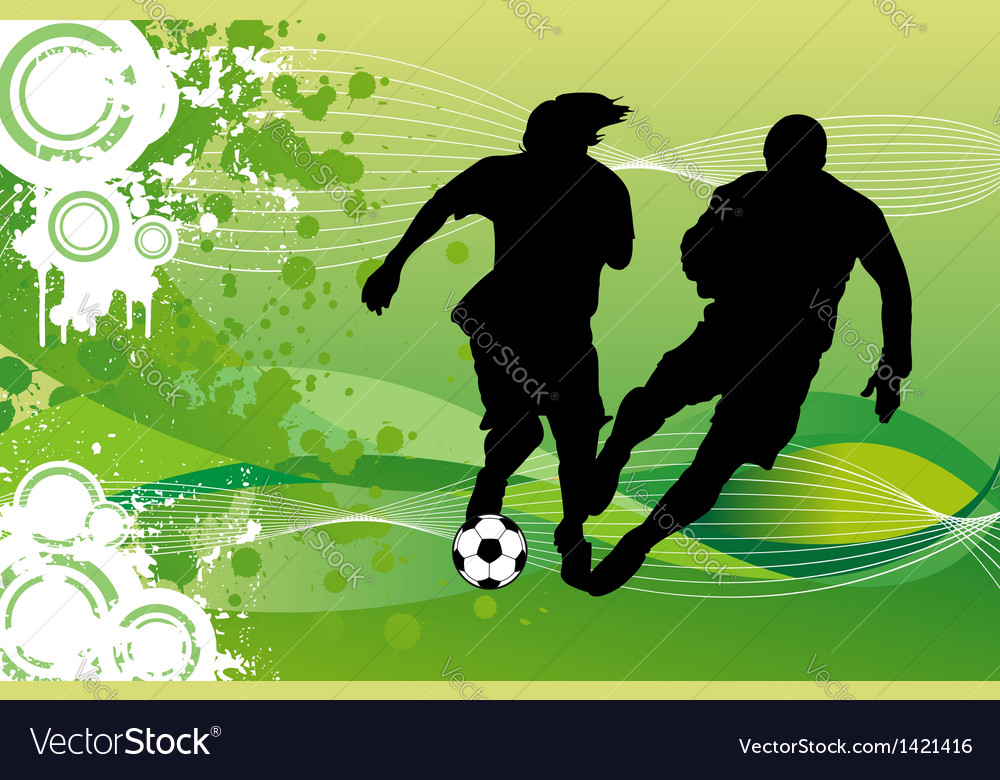 Soccer players running behind ball vector