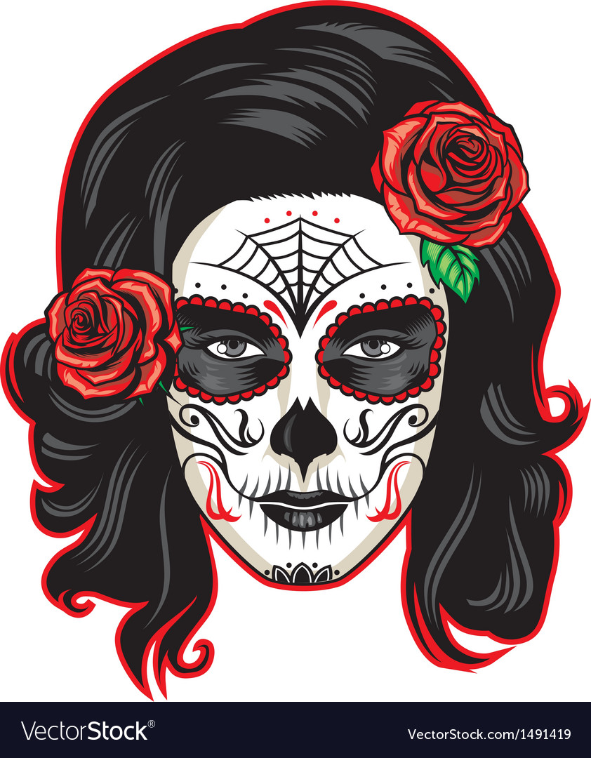 Day of the dead girl with sugar skull makeup vector