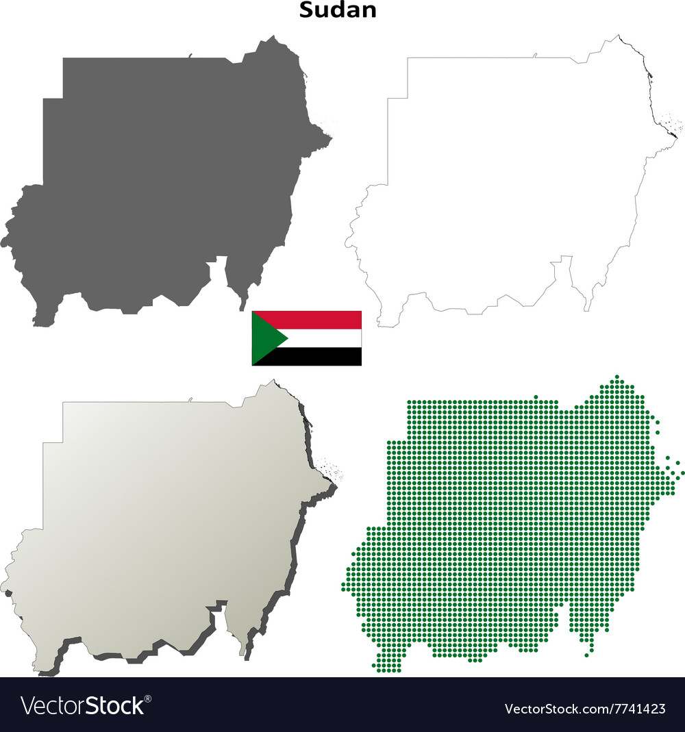 Sudan outline map set