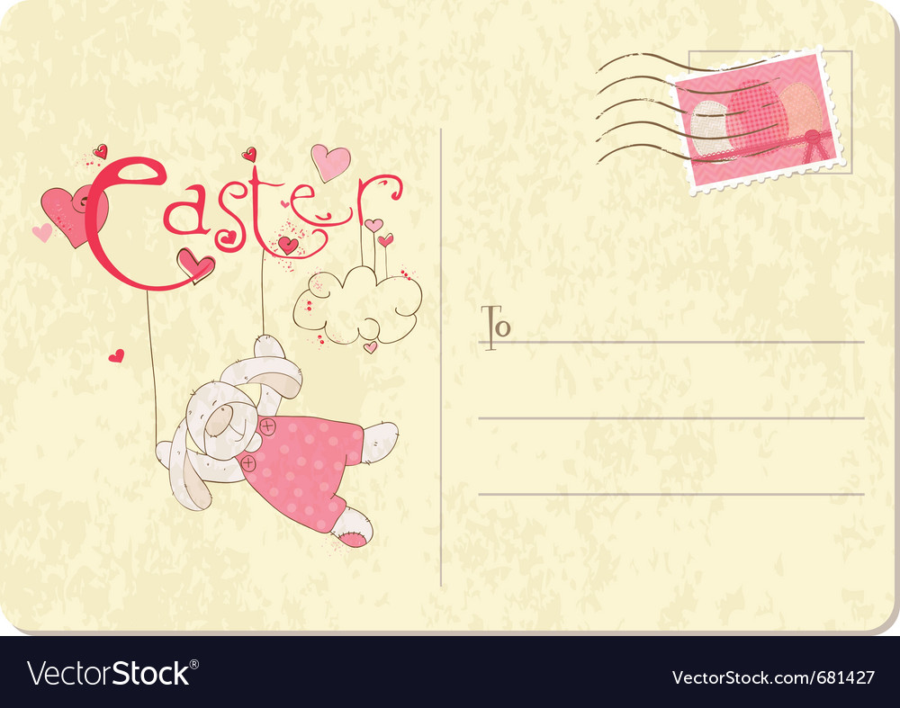 East bunny post card vector