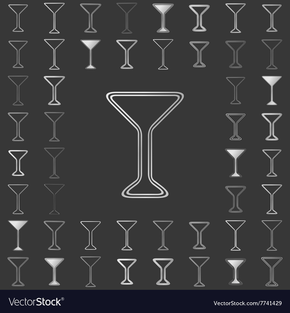 Silver line drink icon design set