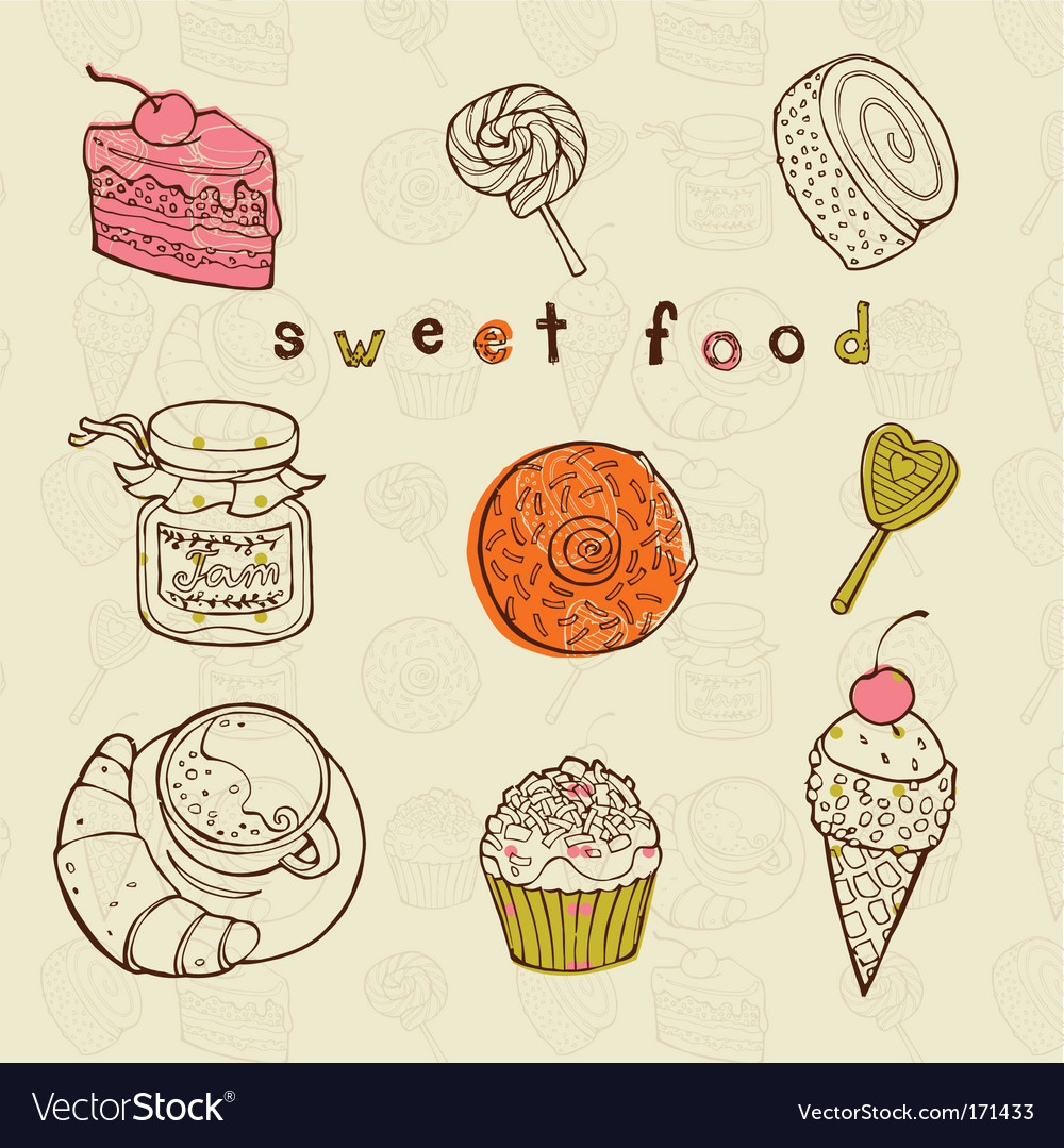 Tasty cakes set vector