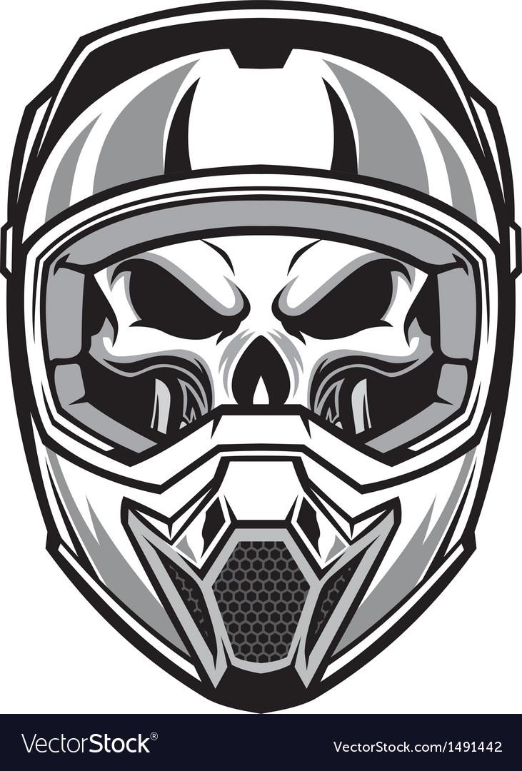Skull wearing motocross helmet vector by bazzier image 1491442
