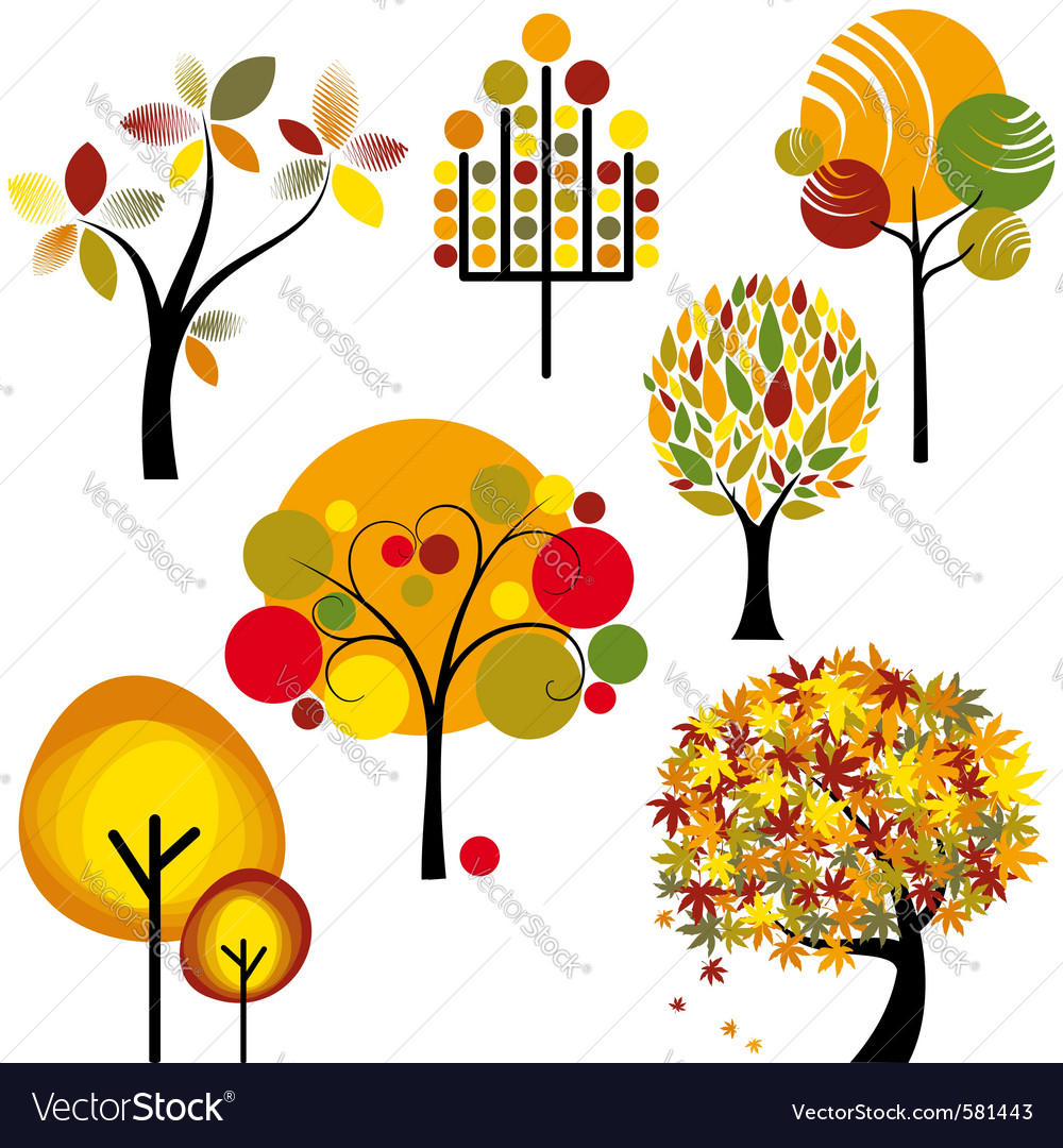 Abstract autumn trees vector