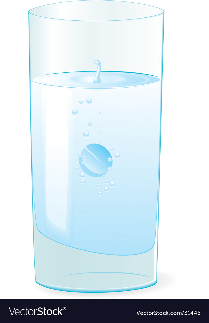 Pill in glass with water vector