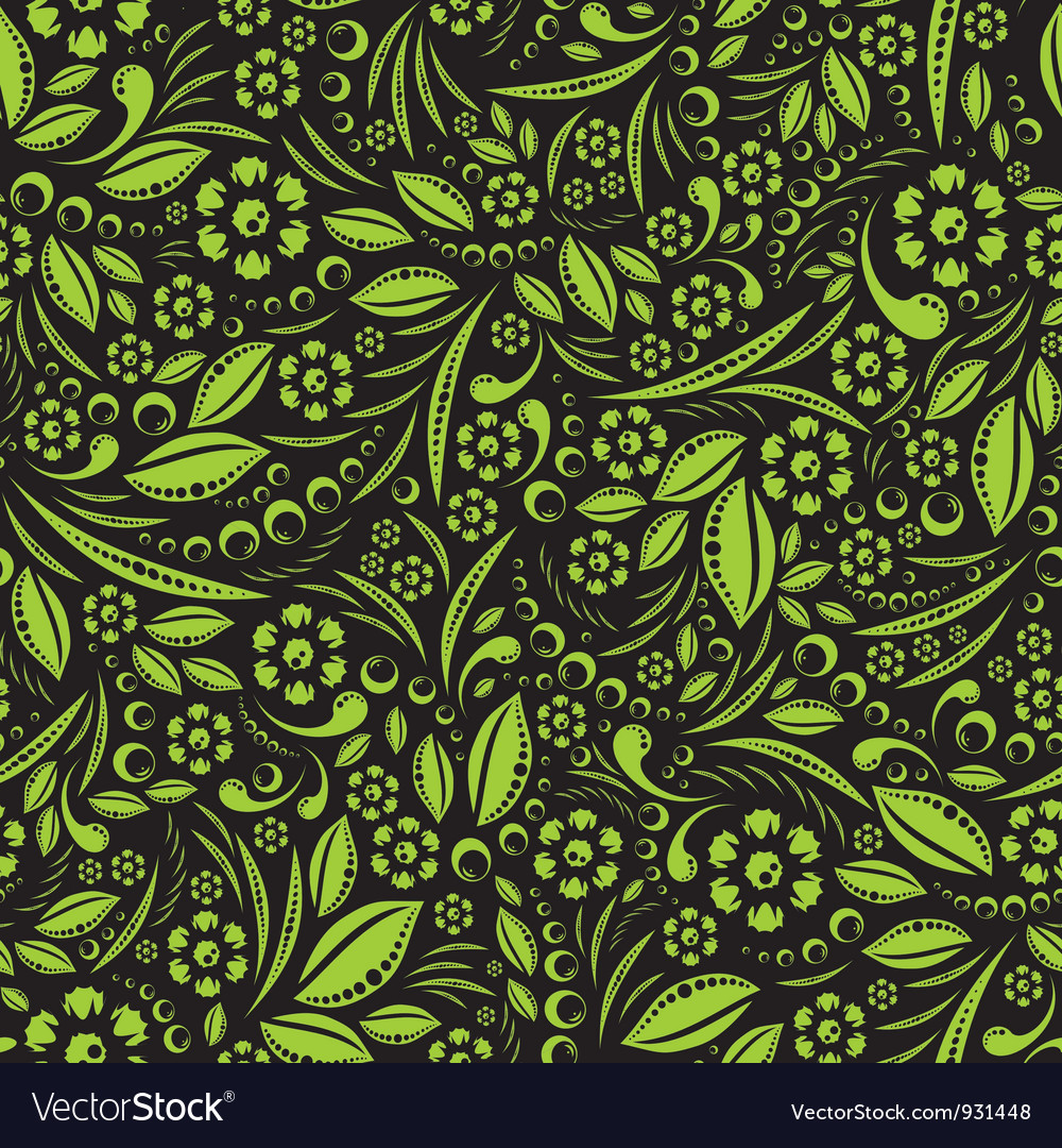 Seamless wallpaper green vegetation repeating vector