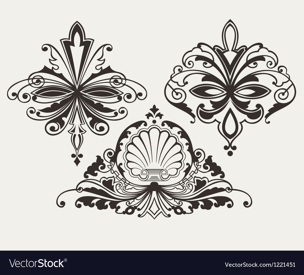 Set of three original retro design elements vector