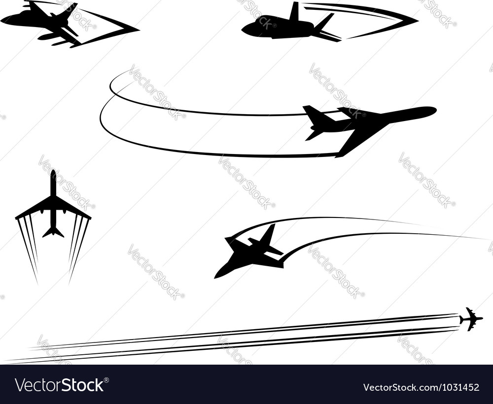 Airplanes and jets symbols for aviation design vector
