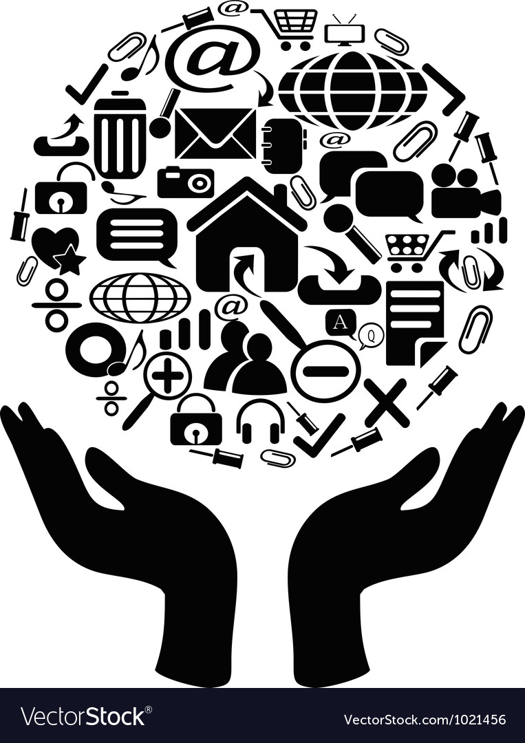 Hands holding icons vector