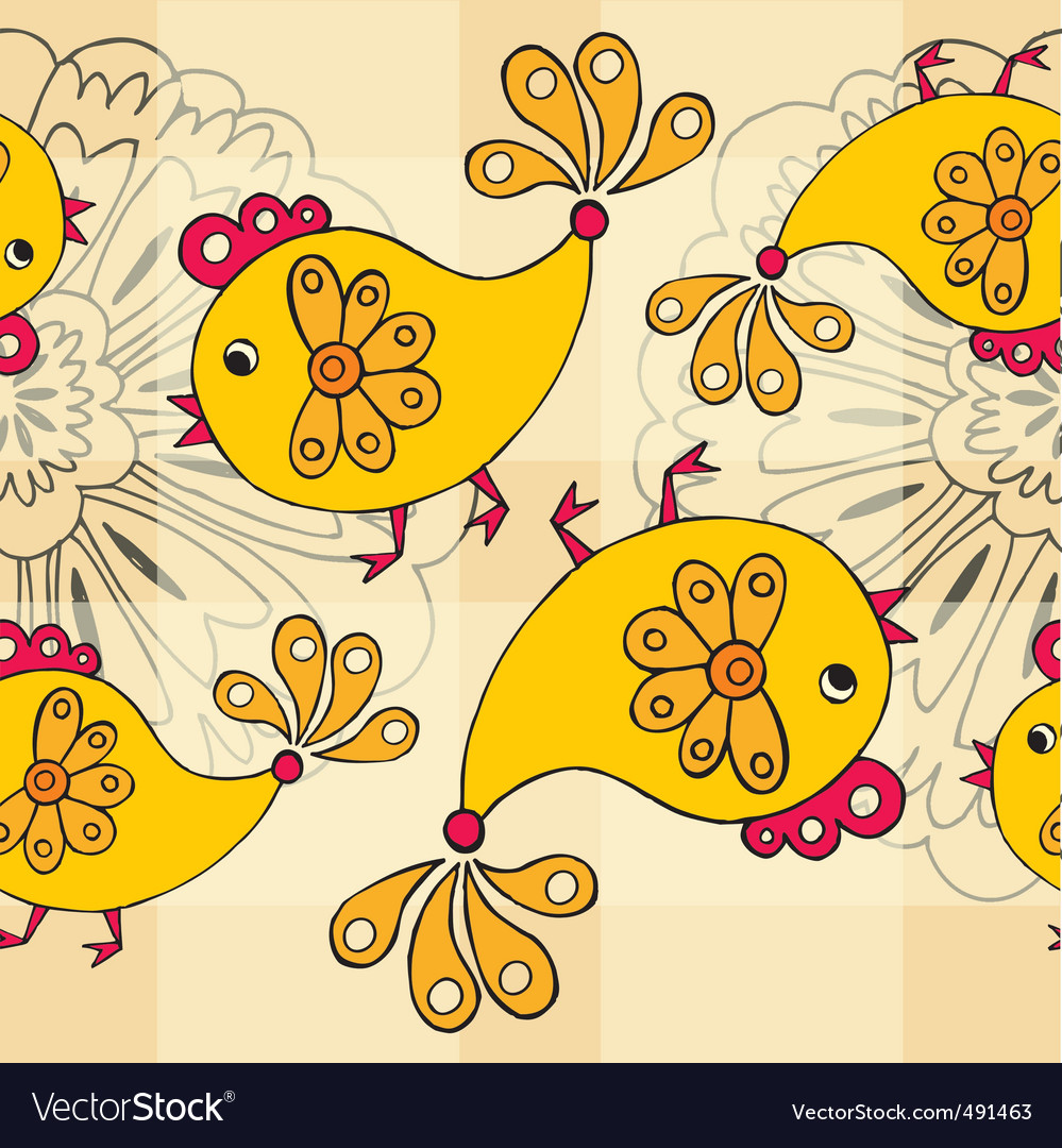 Cartoon chickens pattern vector