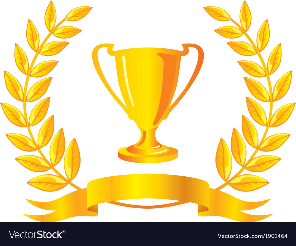 Laurel wreath and trophy vector