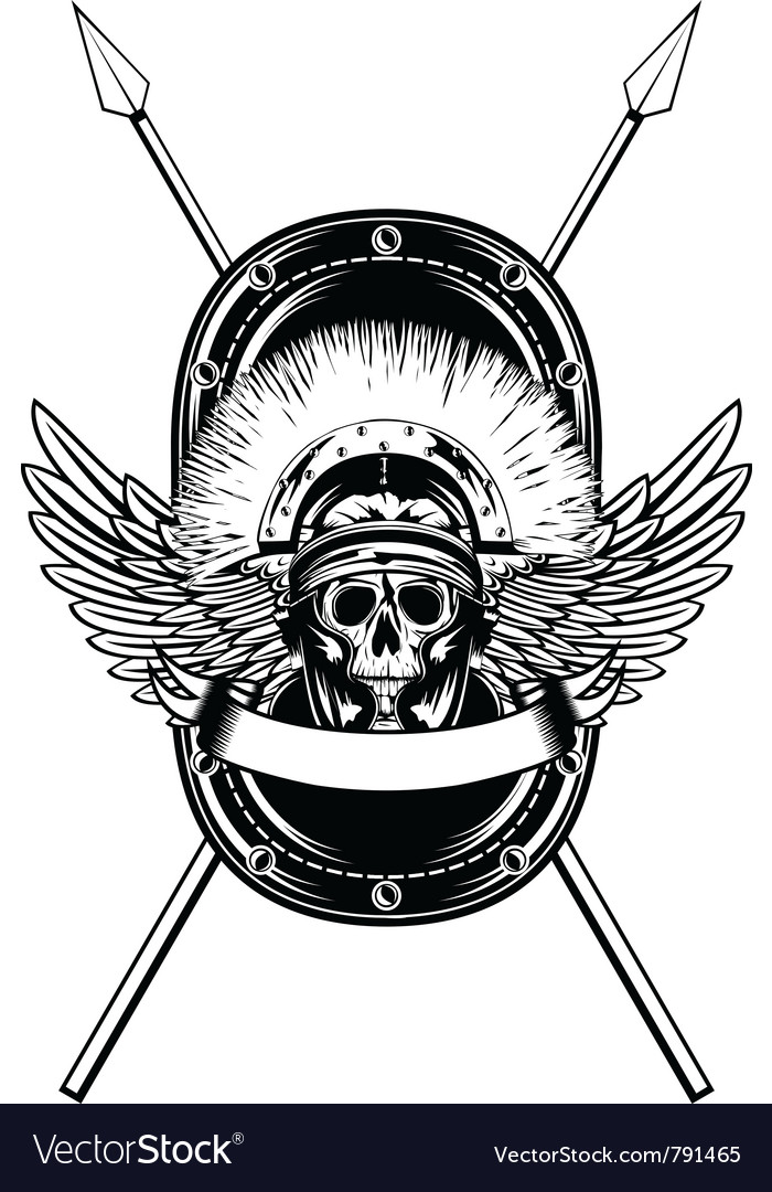 Skull in helmet crossed spears vector