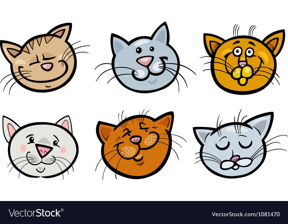 Cartoon funny cats hea...