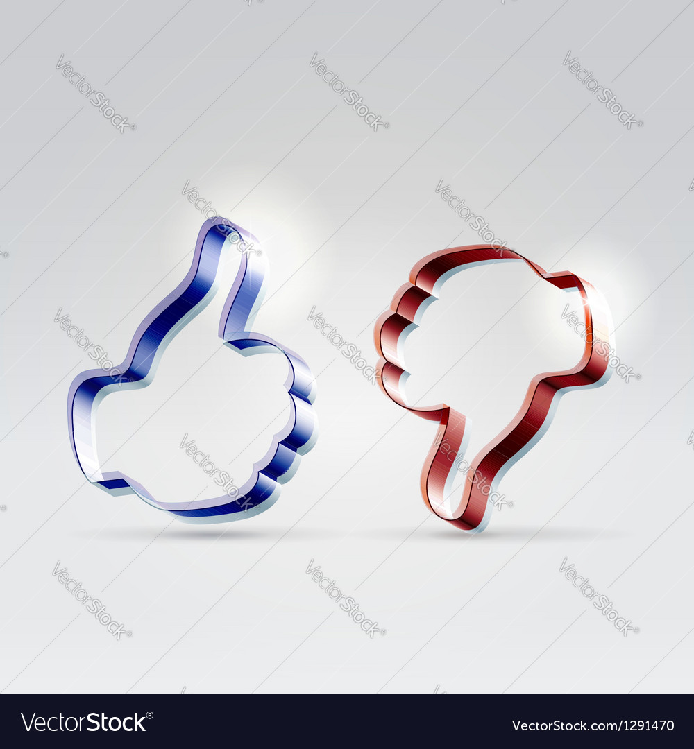 Like and unlike glossy icons vector