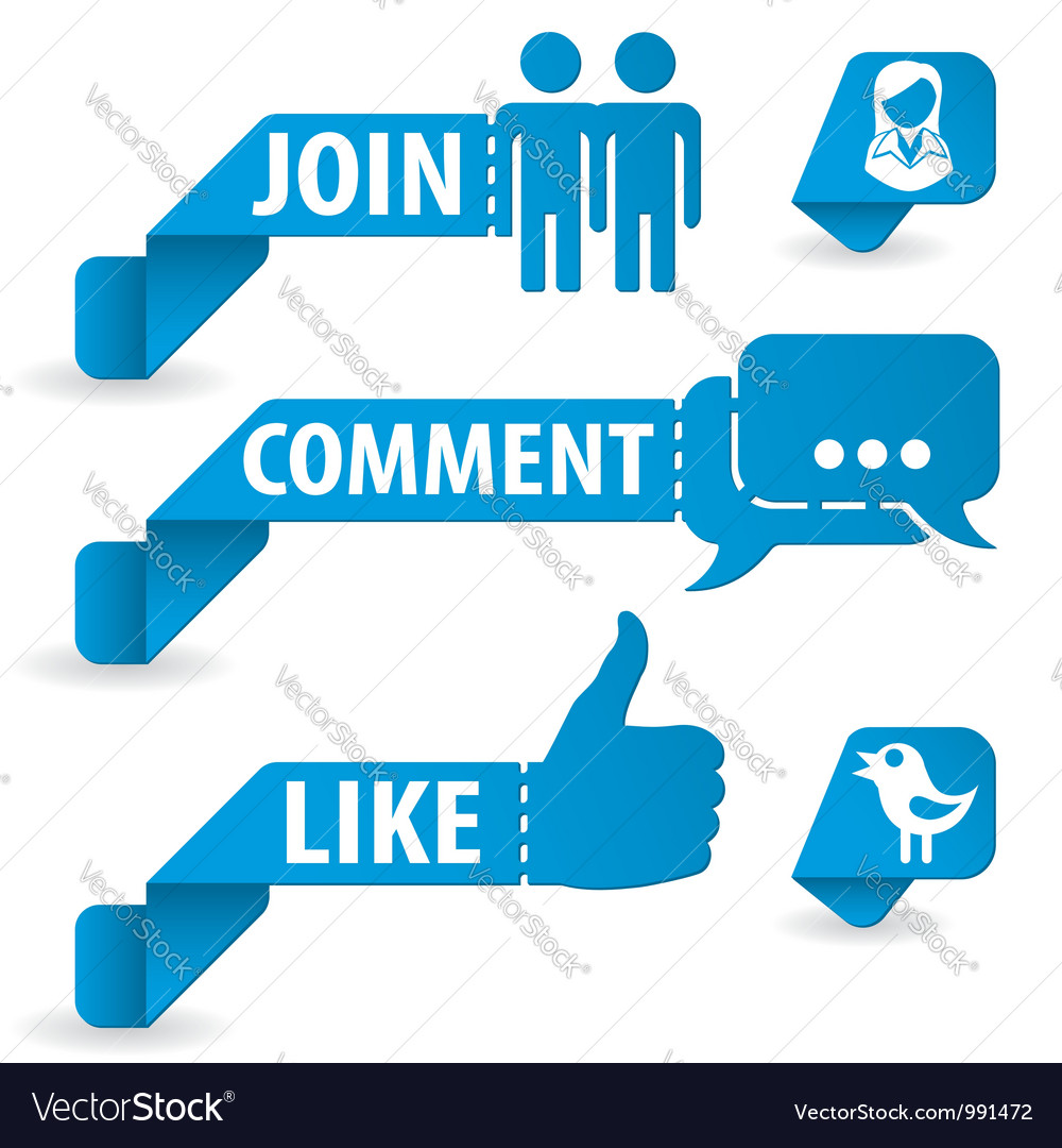 Social media stickers vector