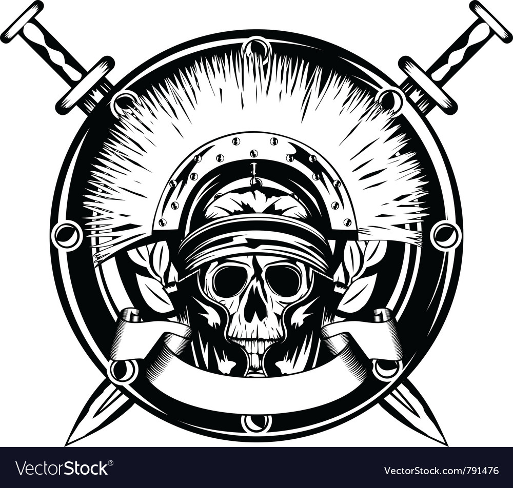 Skull in helmet and shield and cross vector
