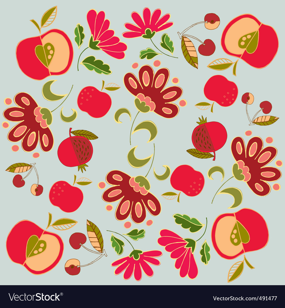 Floral and fruits vector