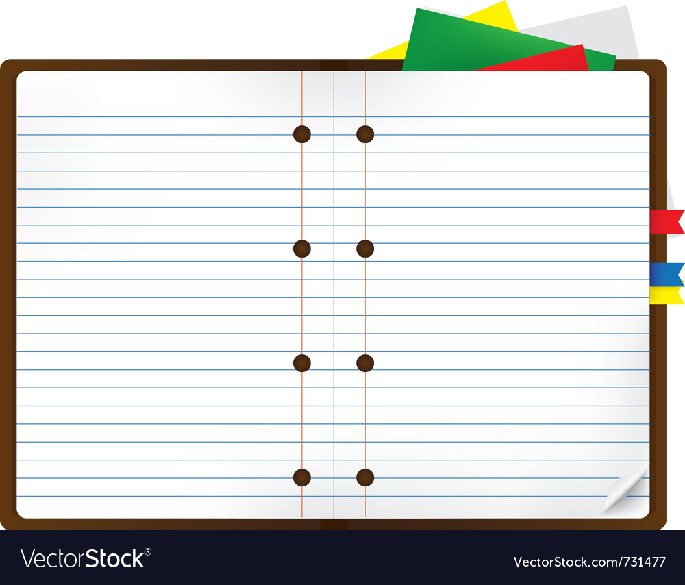 Notebook with bookmark and notepads vector