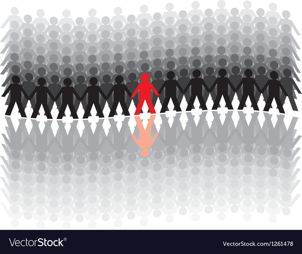 Human figures in a waved row vector