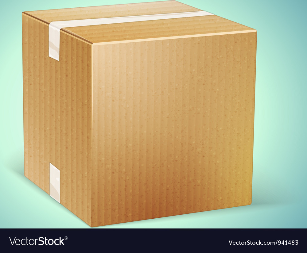 Realistic cardboard box icon vector