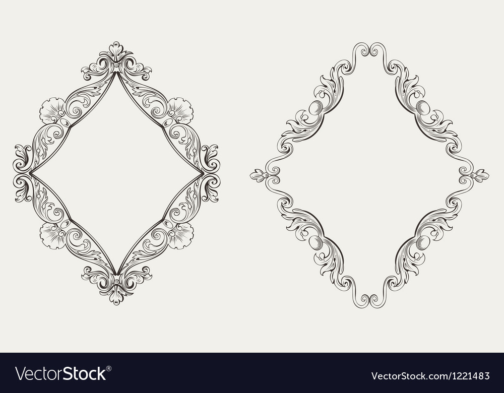 Two original calligraphy rhombus frames vector