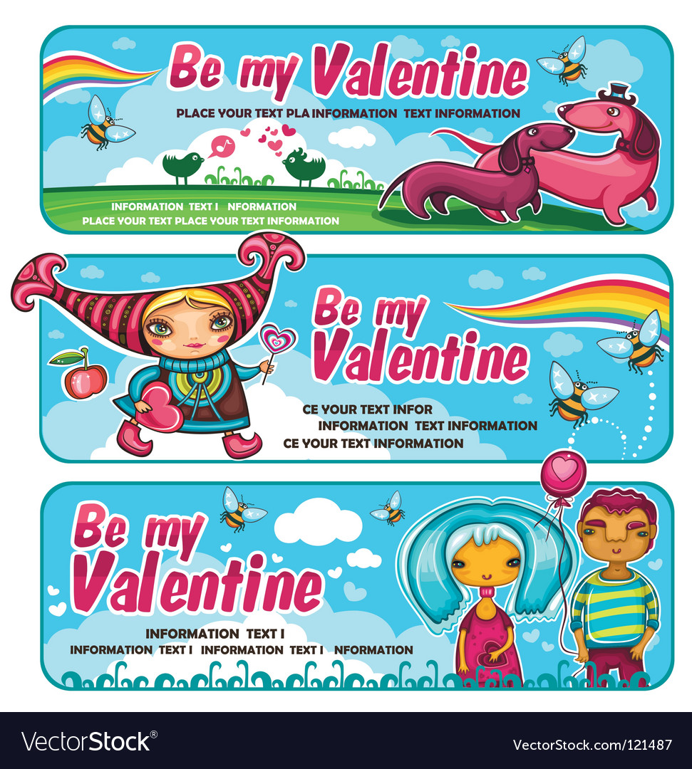 Cute banners for valentines day vector