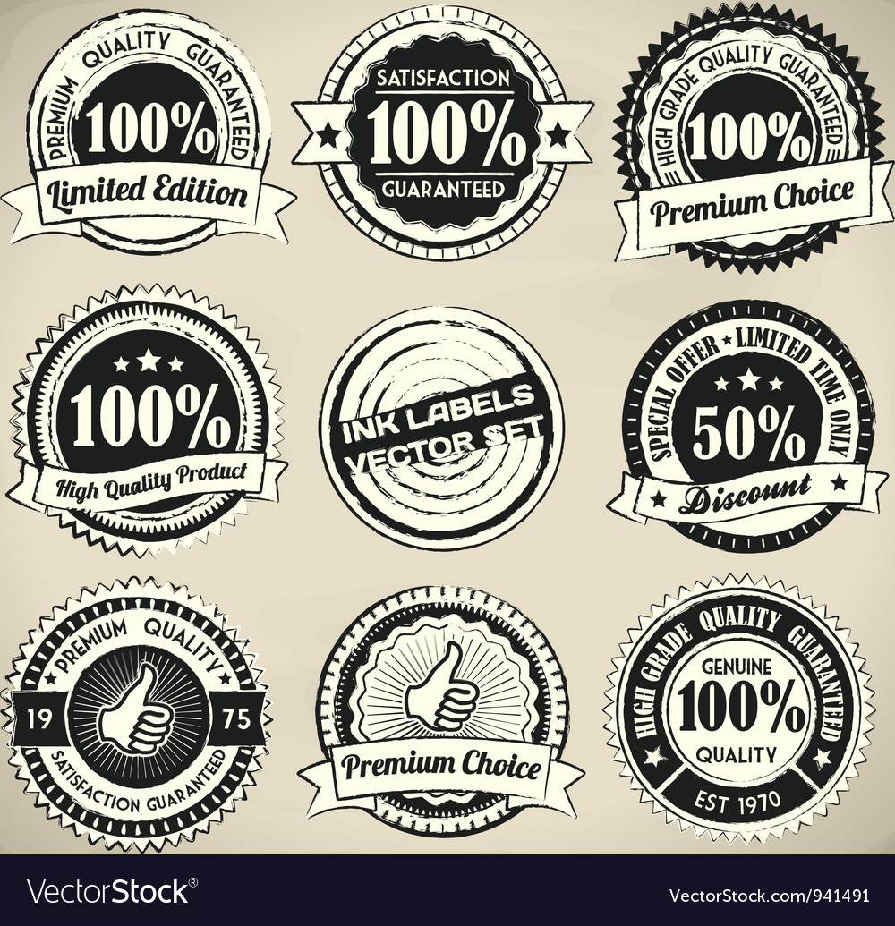 Retro ink label set vector