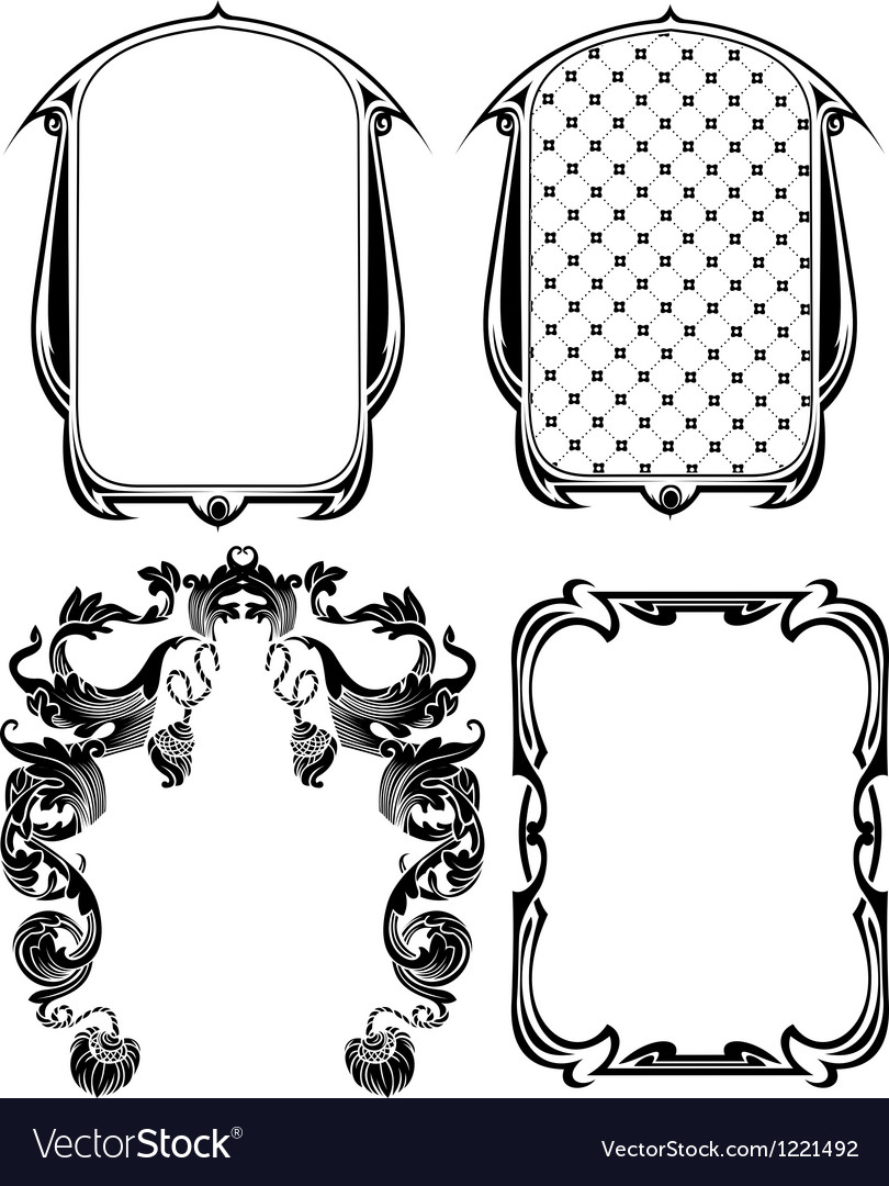 Vintage frames elements set vector