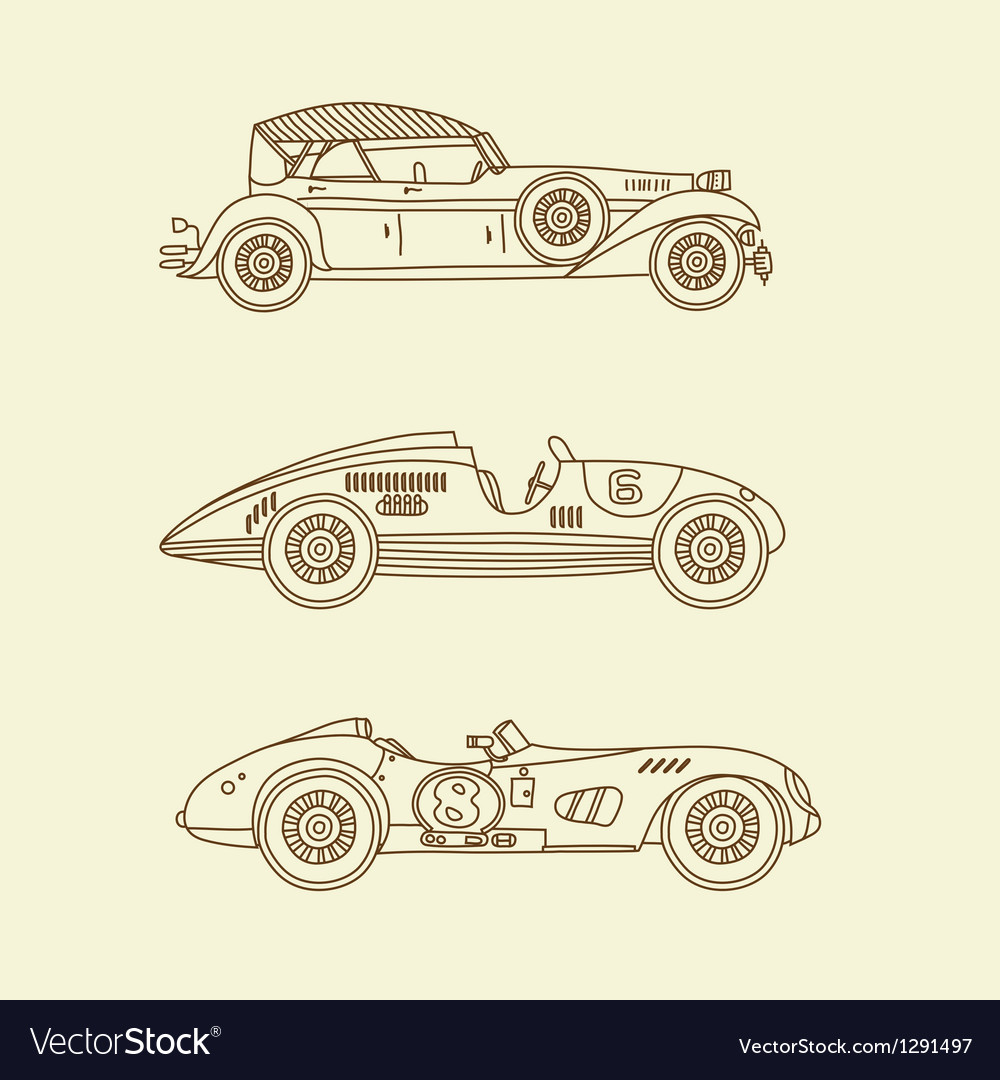 Vintage sport racing cars vector