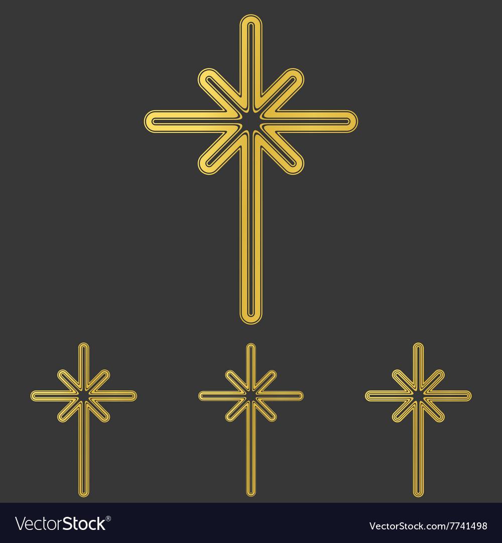 Golden line cross logo design set