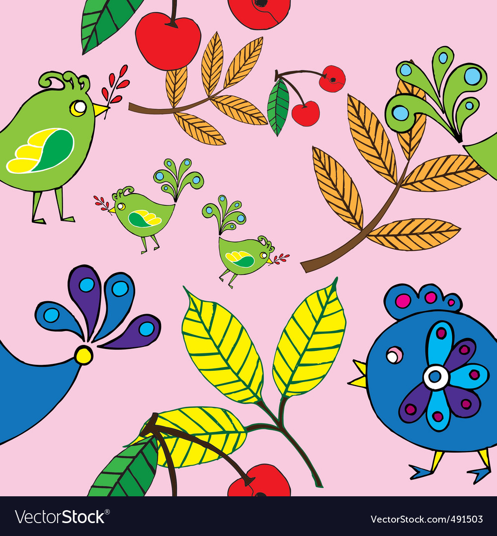 Autumn bird and fruit pattern vector