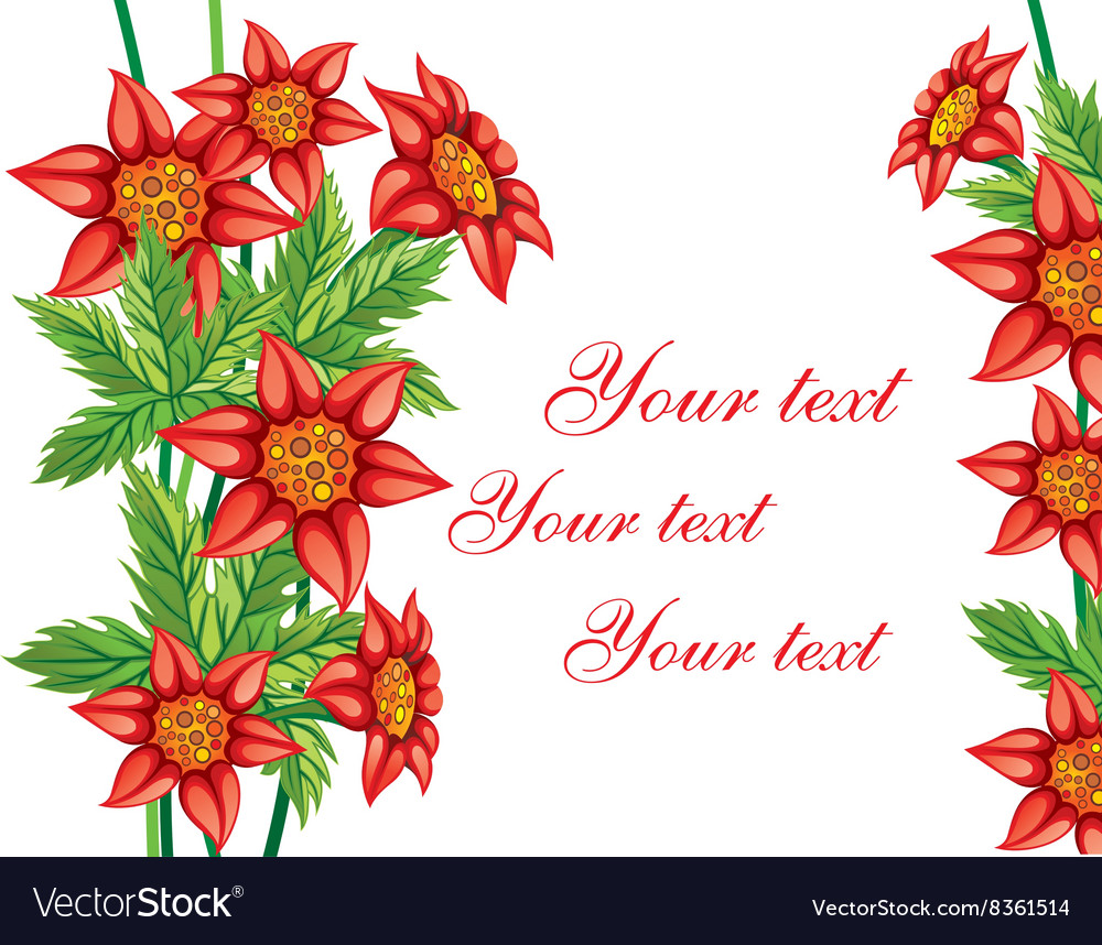 Red floral background with text space