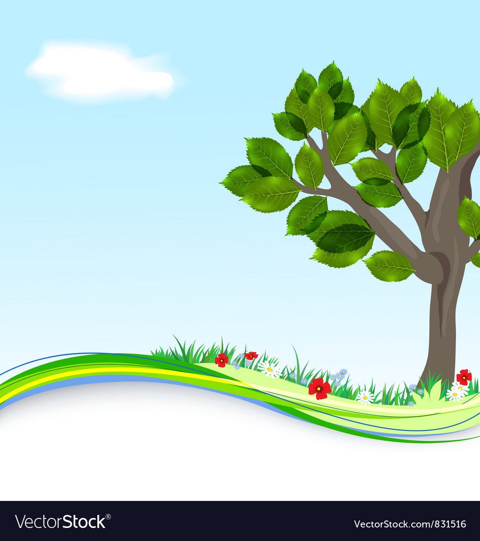 Background with tree and flowers vector