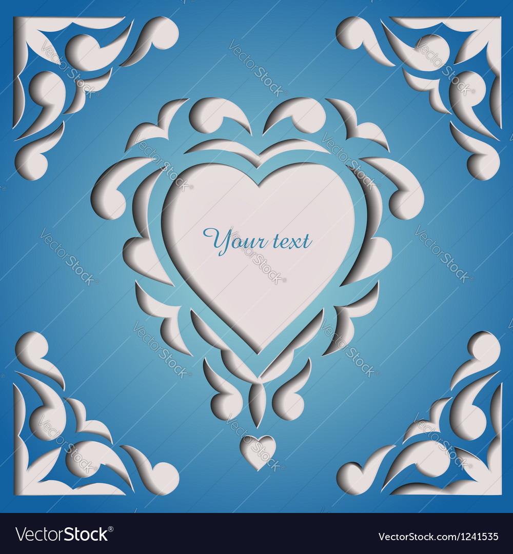 Paper cutout card template frame design vector