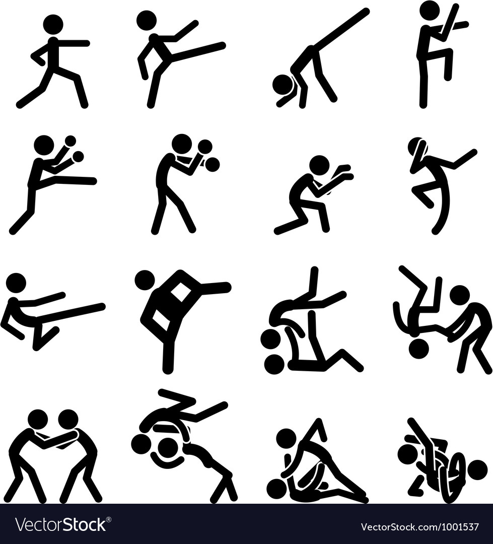 Sport pictogram icon set 03 martial arts vector