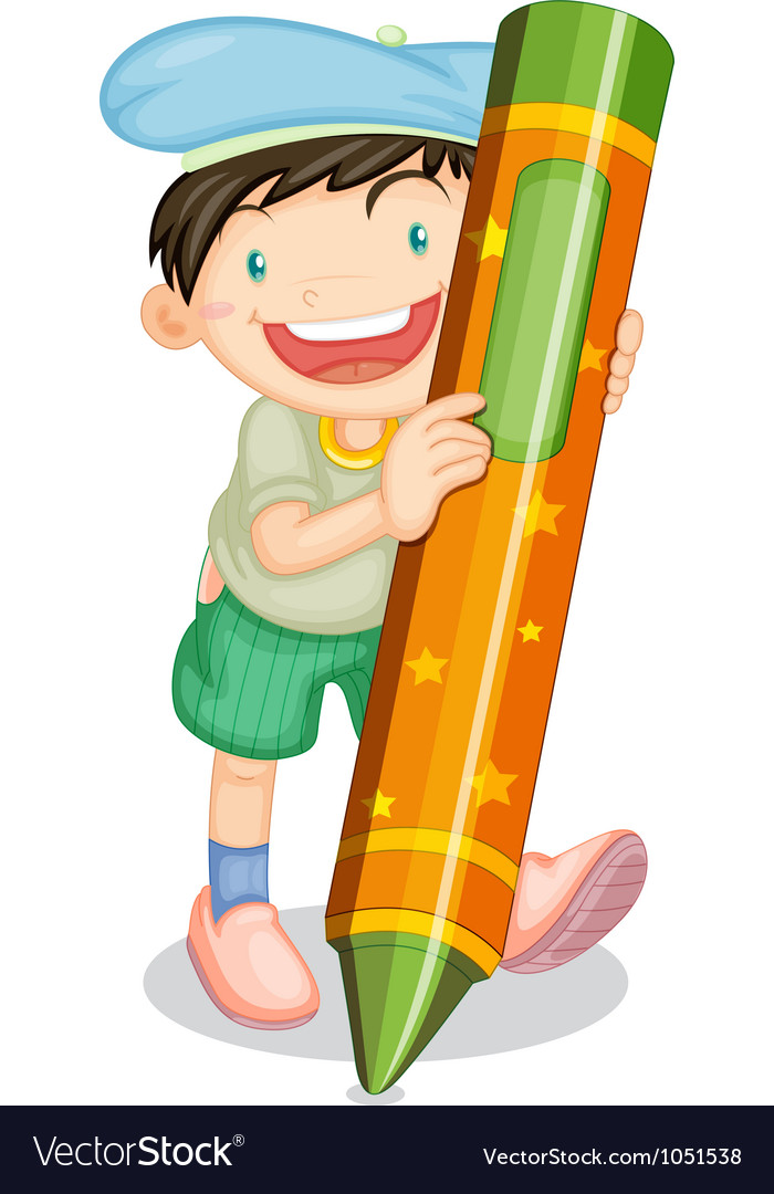 Boy with pencil vector