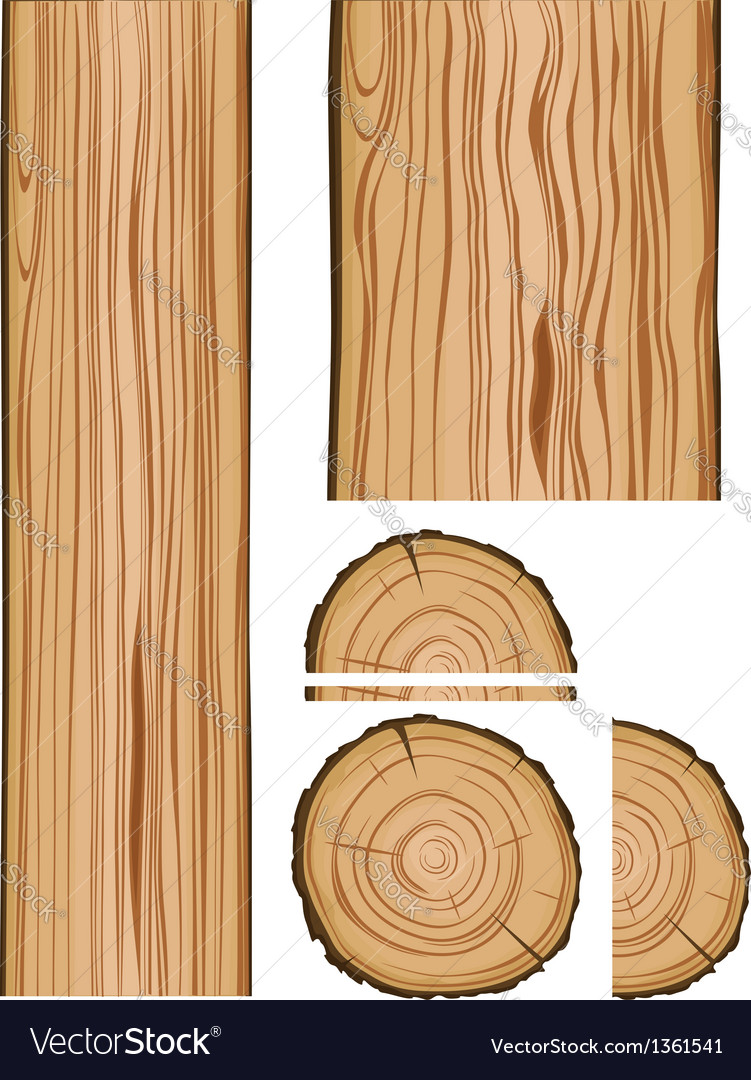 Wood texture and parts vector