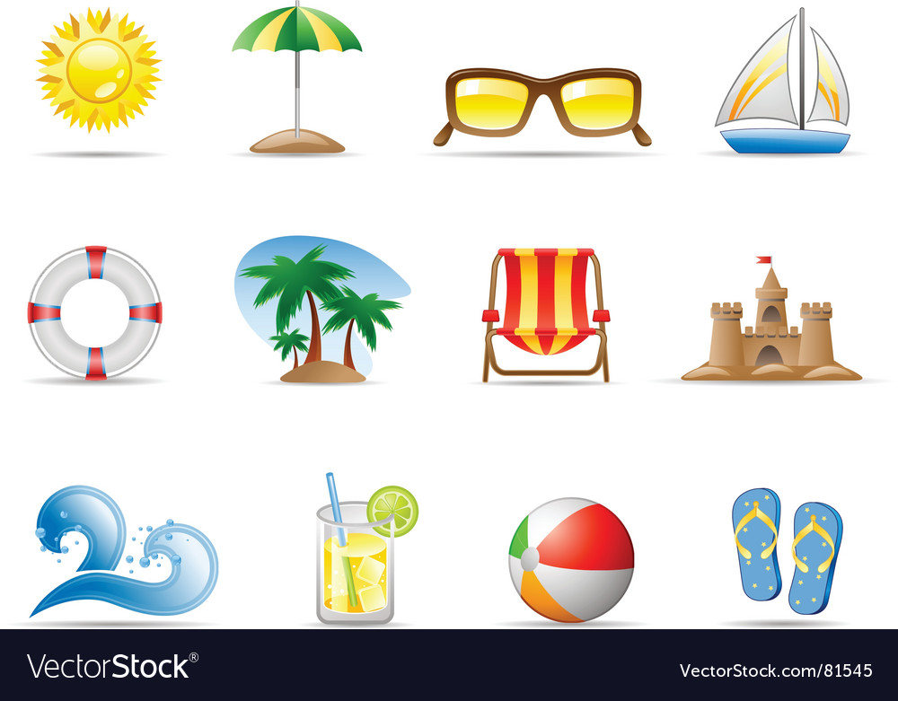 Sun sea and beach vector