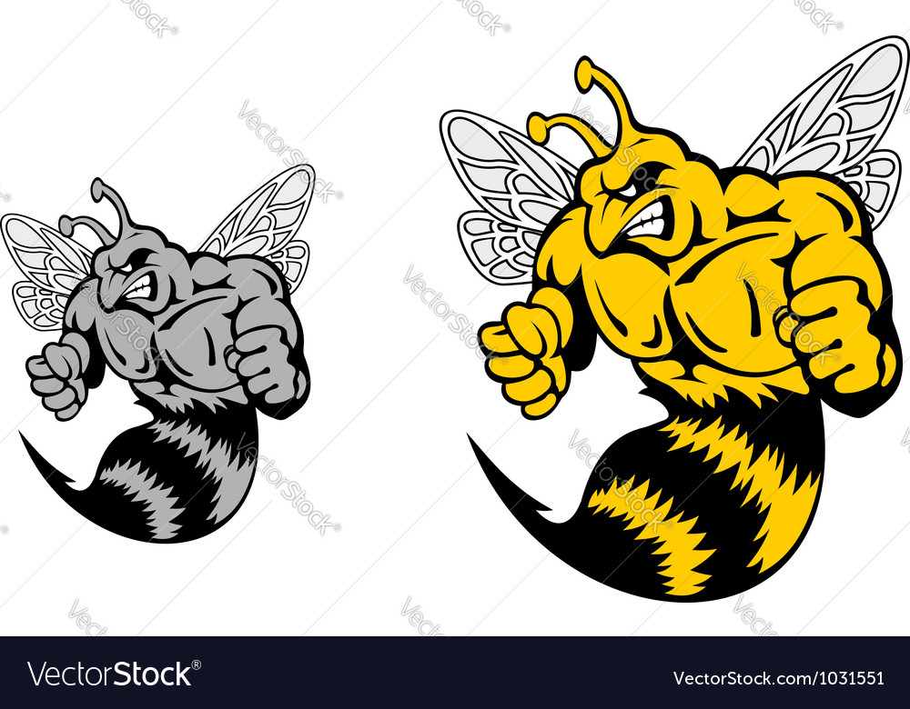 Angry hornet or yellow jacket mascot vector