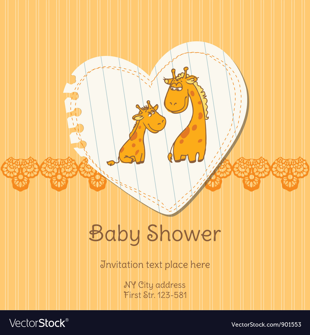 Baby shower card with giraffe vector