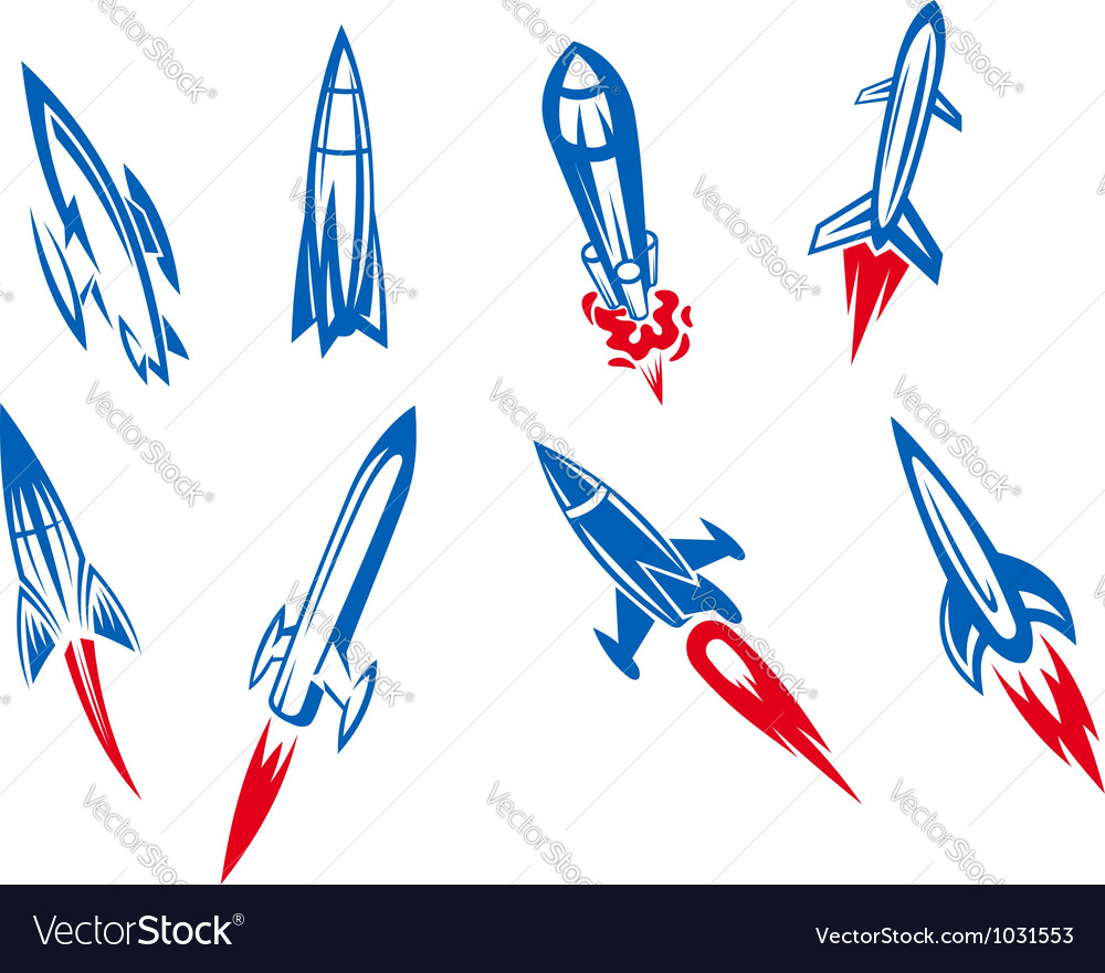 Set of rockets and missiles vector