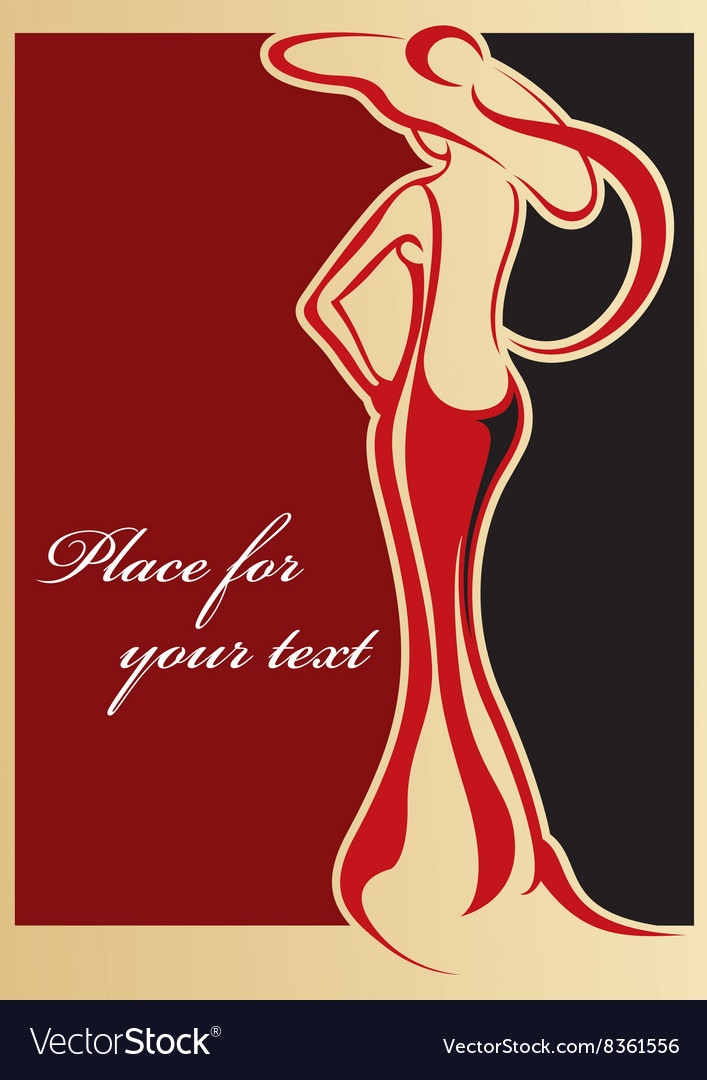 Classical female carton with text space